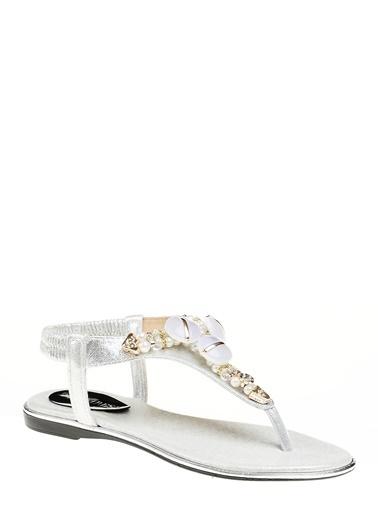 D by Divarese Taşlı Sandalet Gümüş
